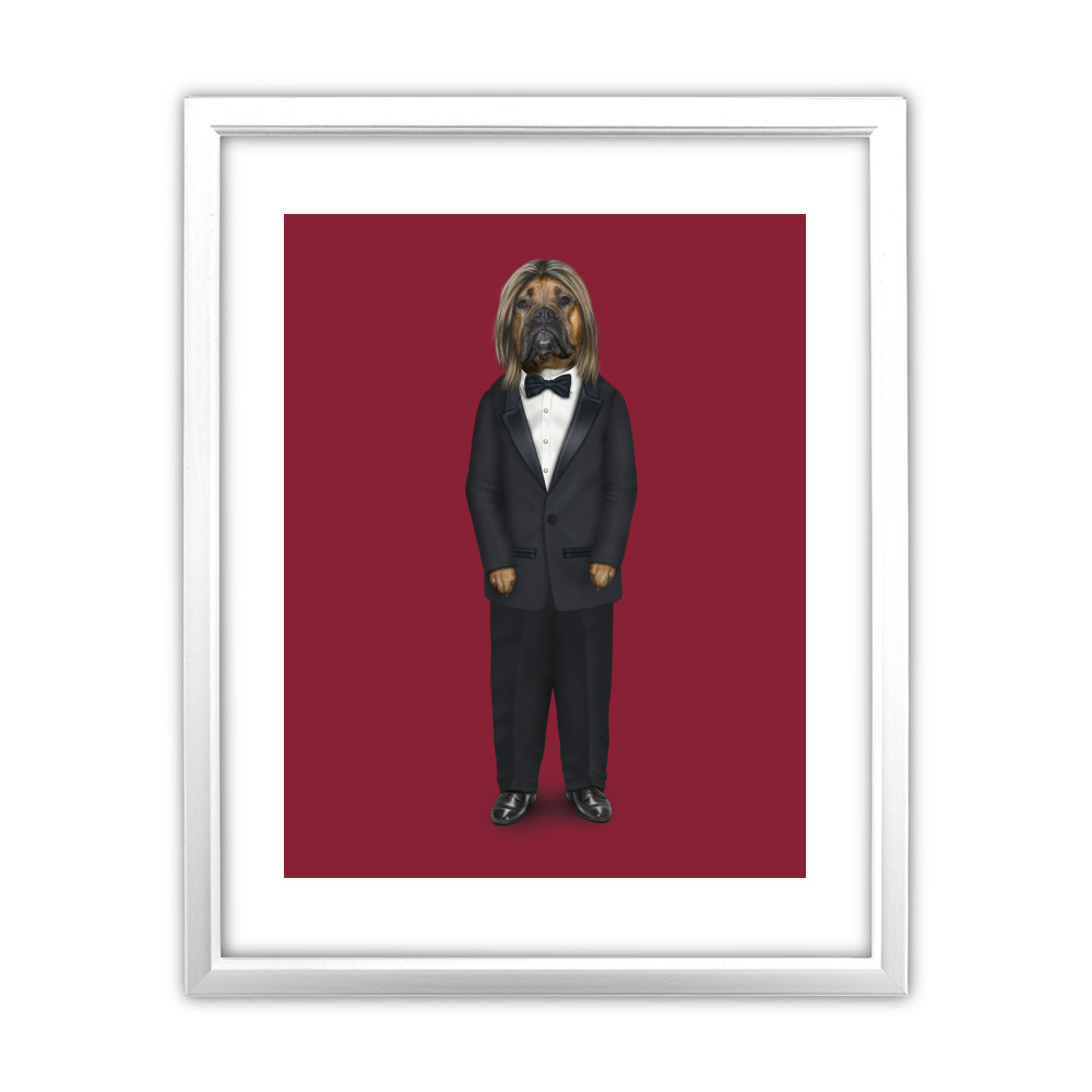 Hollywood Man Pets Rock White Framed Art Print