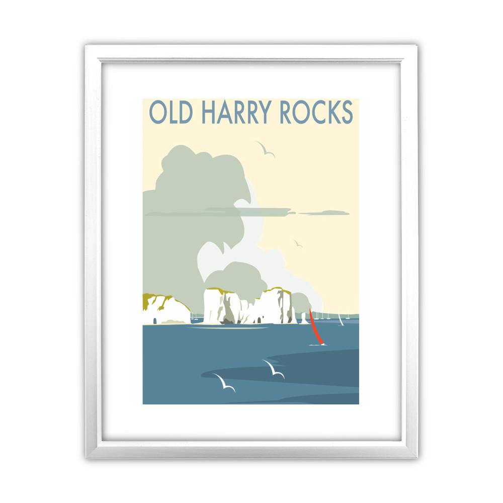 Old Harry Rocks White Framed Print