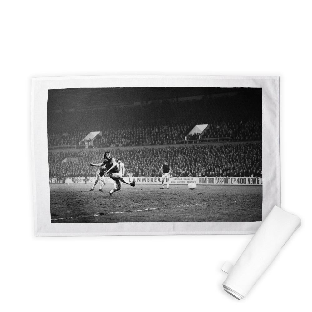European Cup Winners Cup, West Ham 3 v Den Haag 1. Billy Bonds shoots for.. Tea Towel