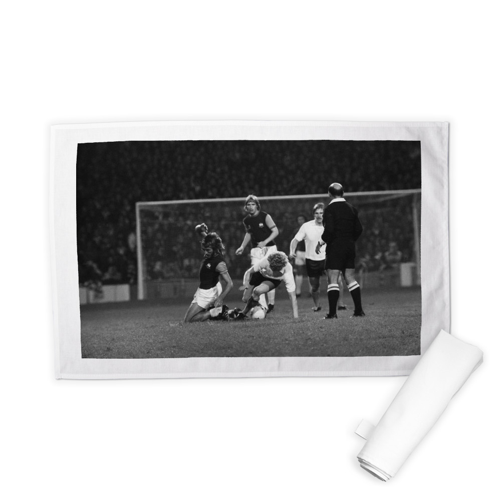 European Cup Winners Cup. West Ham v Reipas Lahden. Billy Bonds challenged.. Tea Towel