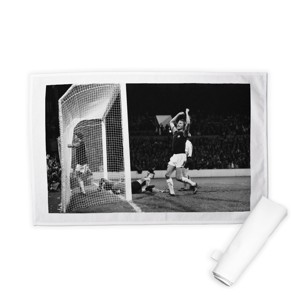 European Cup Winners Cup. West Ham v Reipas Lahden. Pat Holland in the net.. Tea Towel