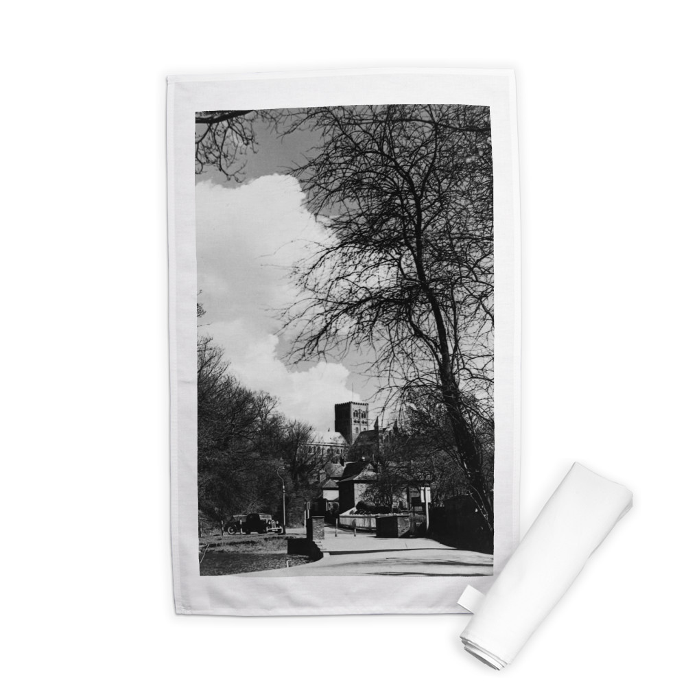 St. Albans scene Cathedral seen through.. Tea Towel