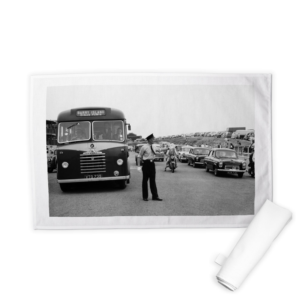 Holiday Crowds at Barry Island: Two Barry policeman control the dangerous.. Tea Towel