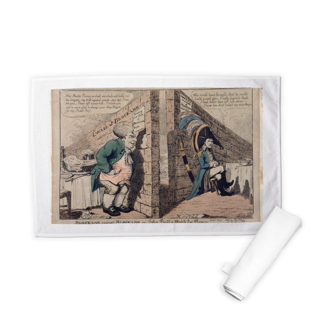 Blockade against Blockade or John Bull a Match for Boney Tea Towel