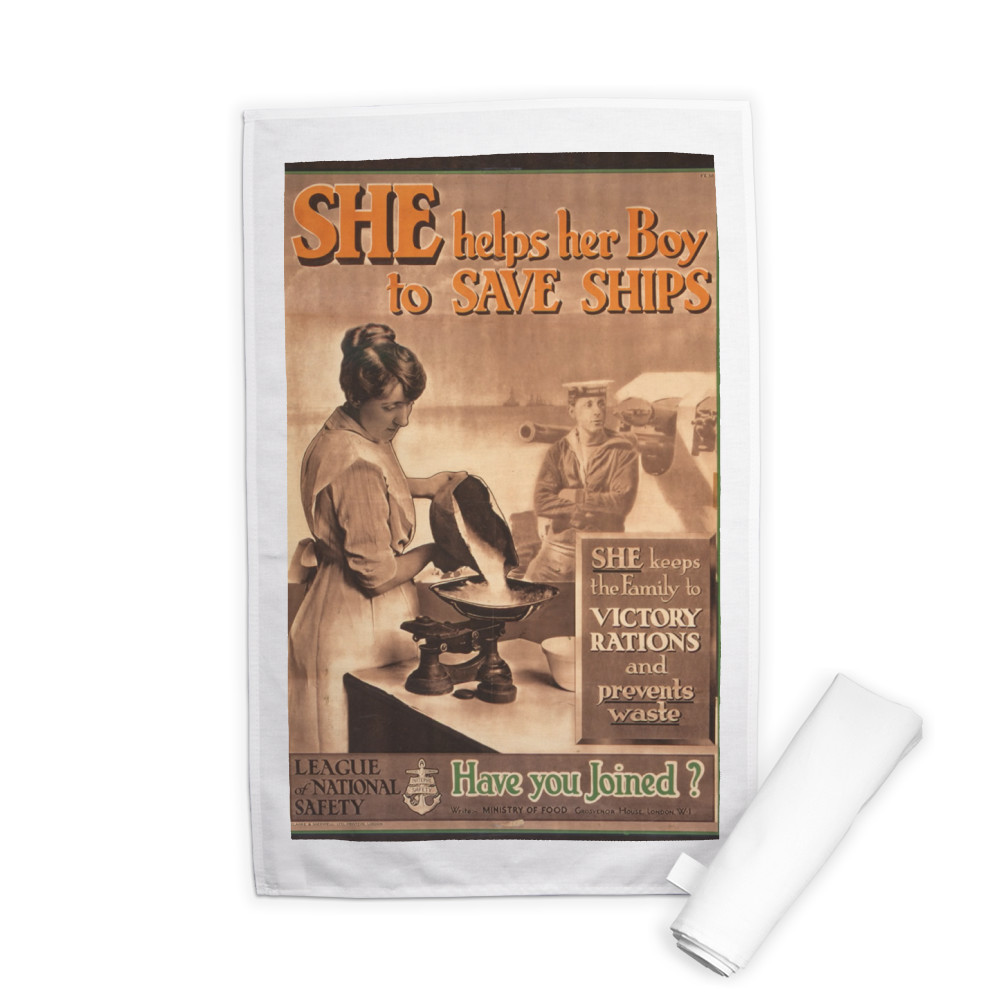 She Helps Her Boy to Save Ships Tea Towel