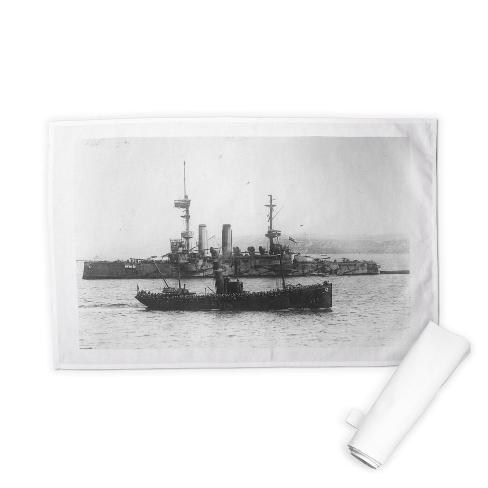 Trawler of troops at the Bombardment of Gallipoli Tea Towel