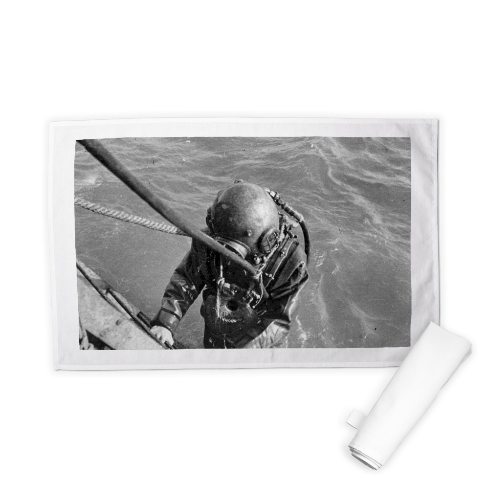 Diver Emerging From the Water Tea Towel