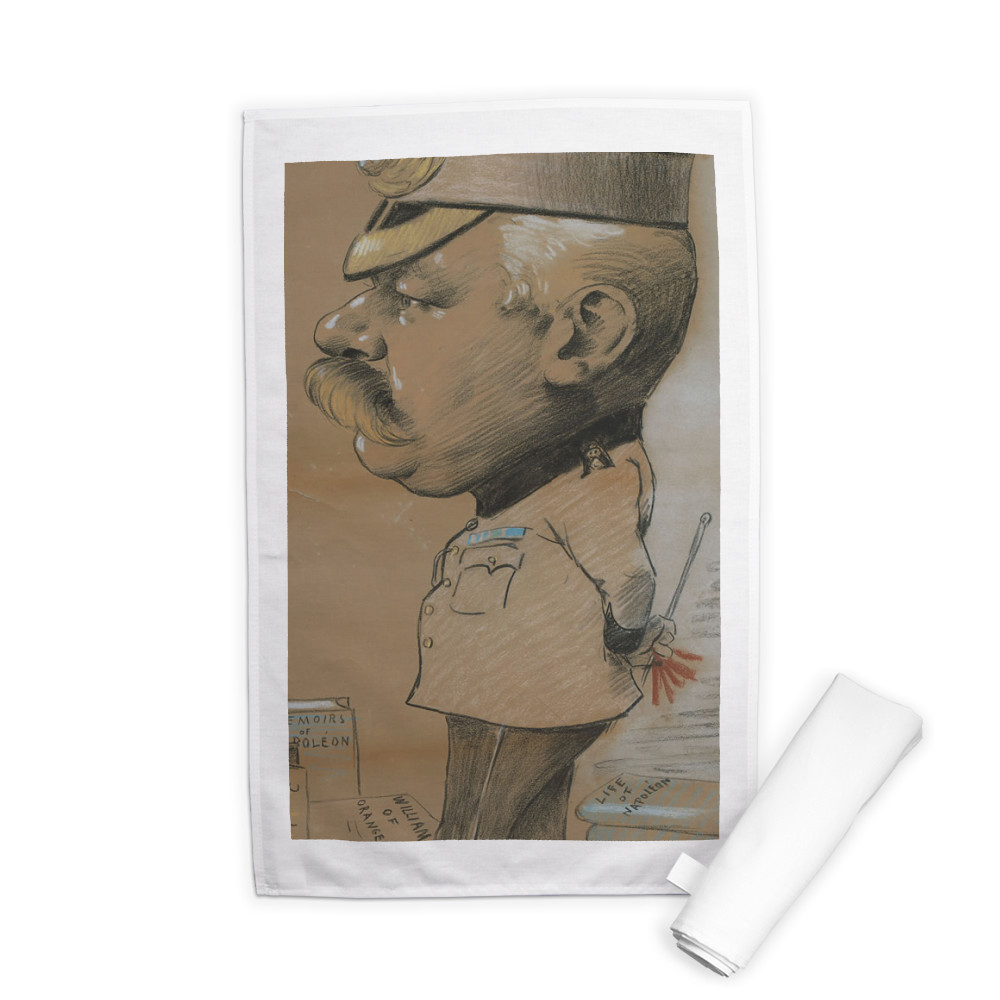caricature, unidentified Lieutenant Colonel of the Royal Marines Light.. Tea Towel