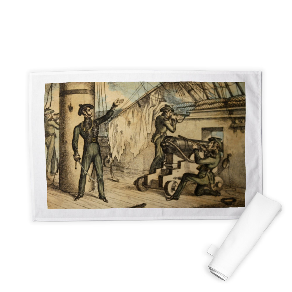etching, Marine riflemen in action on board an unidentified warship, c1835.. Tea Towel