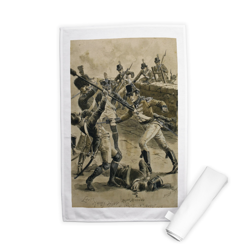 drawing, Lieutenant Harry Hunt Royal Marines at Cassis,18 August 1813 by.. Tea Towel