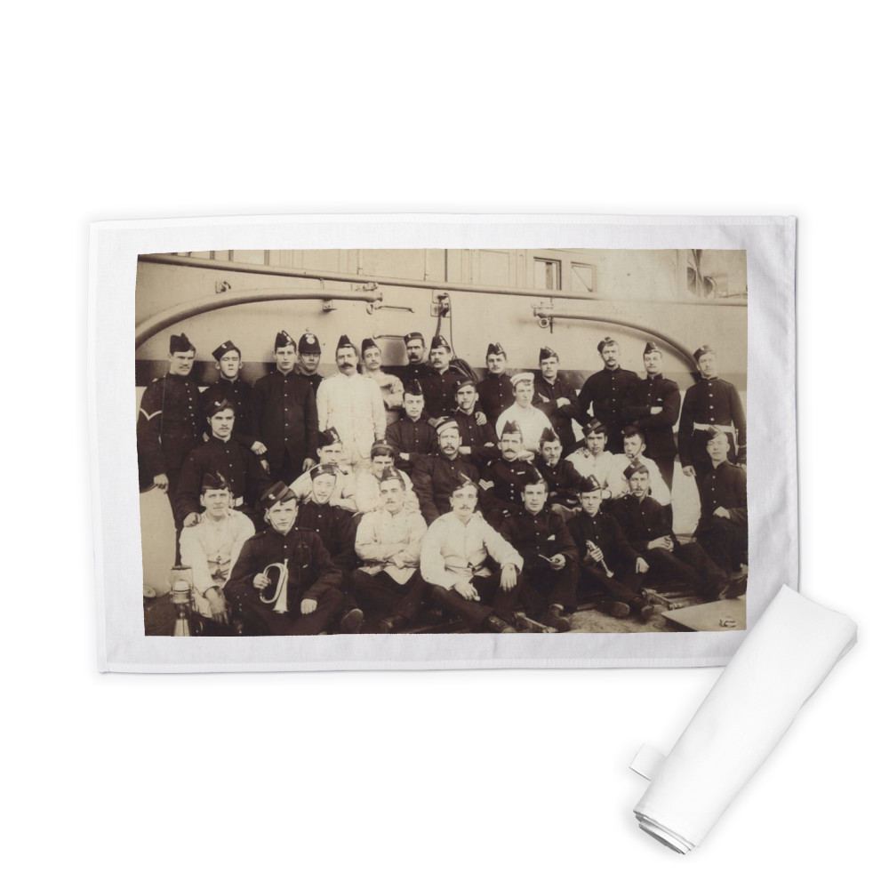 Royal Marine Detachment aboard an unidentified warship, location unknown,.. Tea Towel