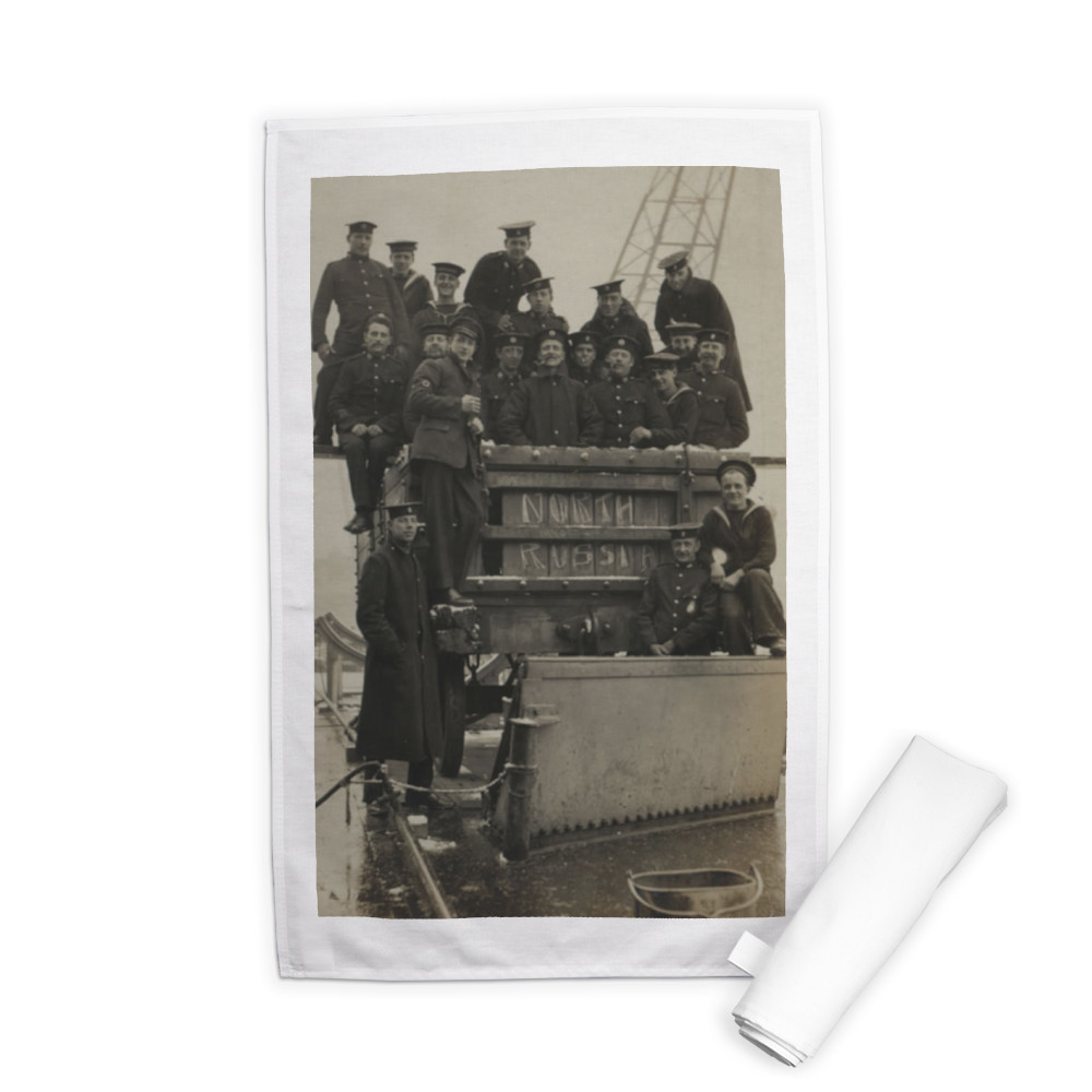 Royal Marines sitting in and on a railway wagon in North Russia, 1919. Tea Towel