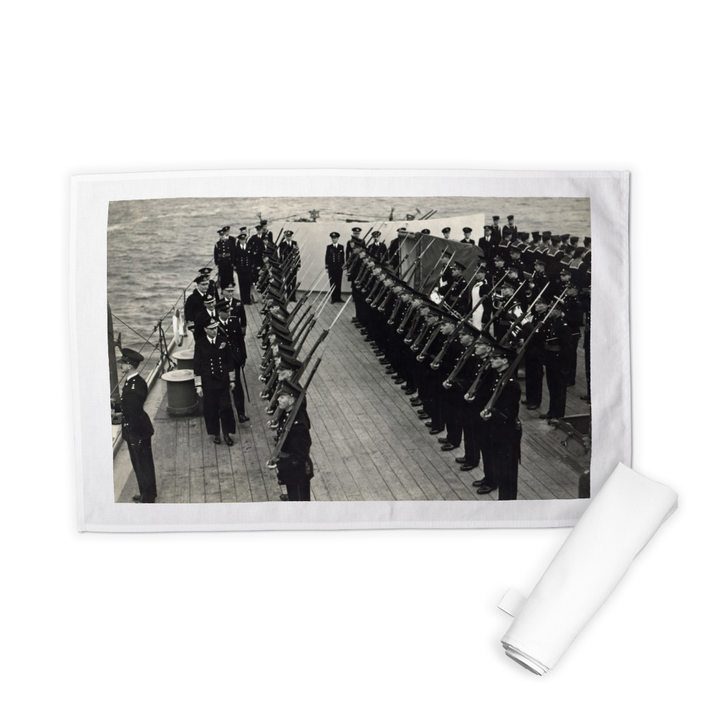 H M King George inspecting Royal Marines of the ship's RM Detachment.. Tea Towel