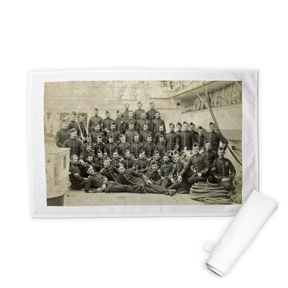 Royal Marine Detachment aboard an unidentified warship, c1880. Tea Towel