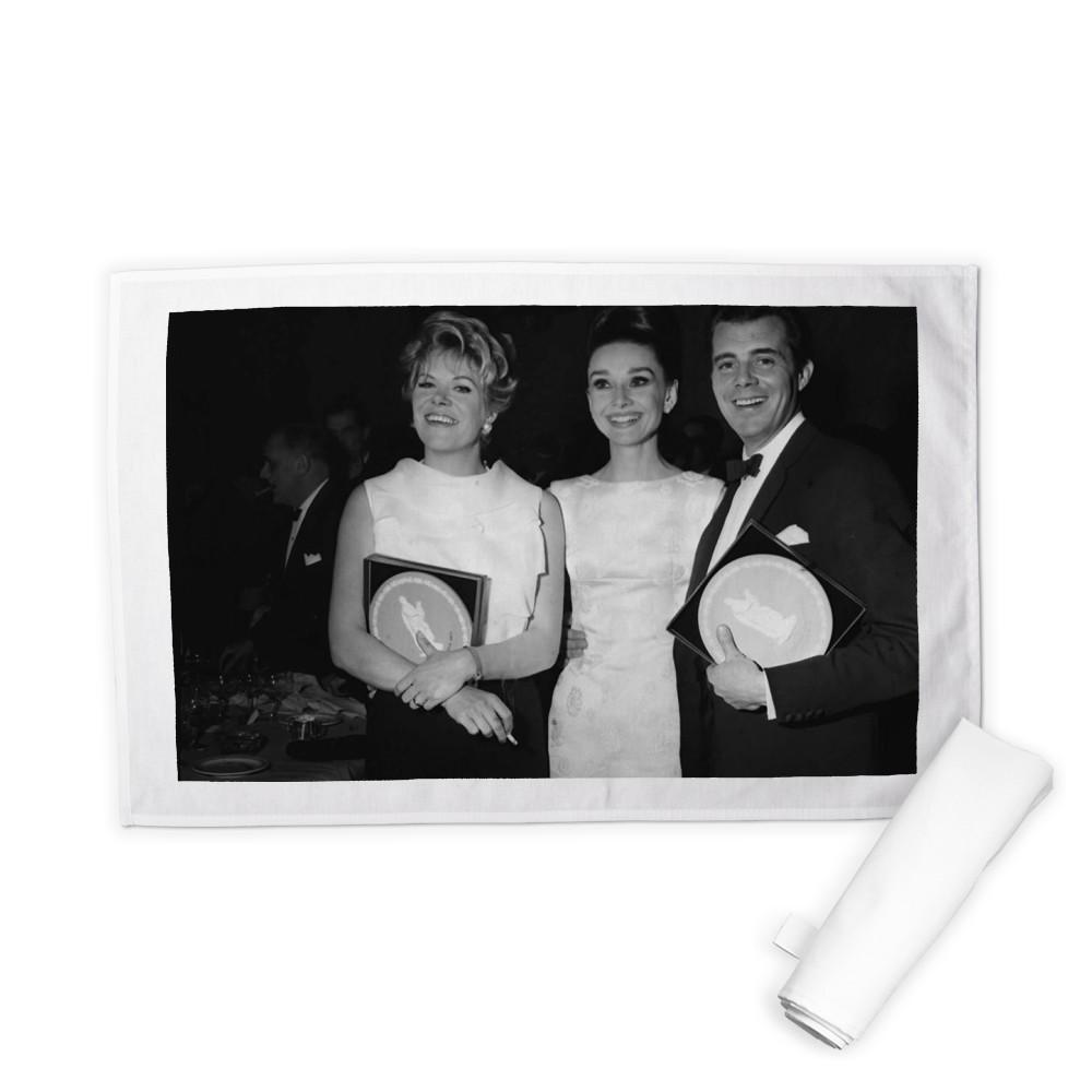 'Rachel Roberts, Audrey Hepburn and Dirk Bogarde' Tea Towel