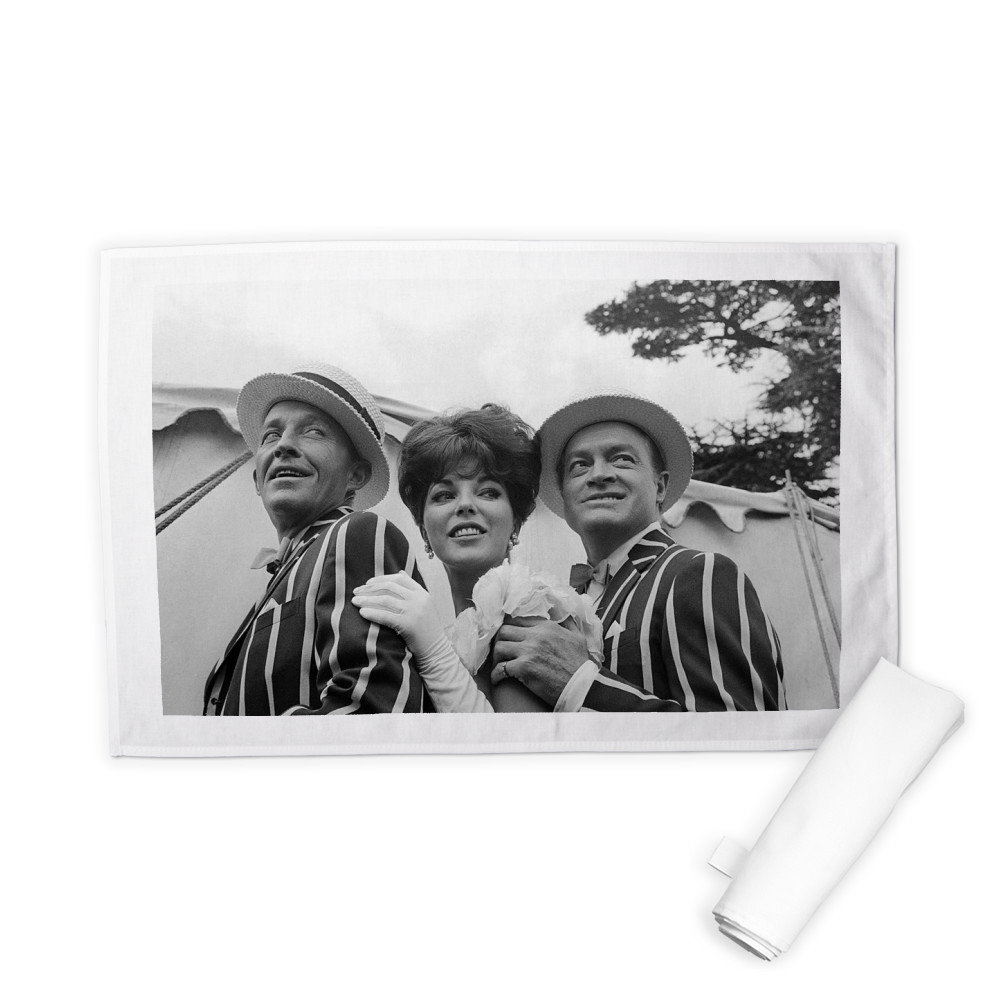 'Bing Crosby, Joan Collins and Bob Hope' Tea Towel