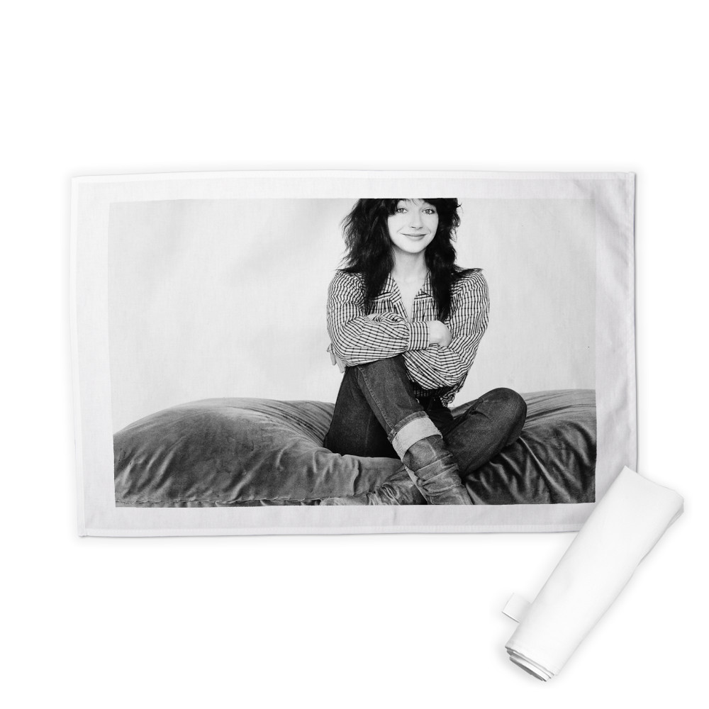 Kate Bush Singer Sitting On A Giant Cushion September 1983  Tea Towel