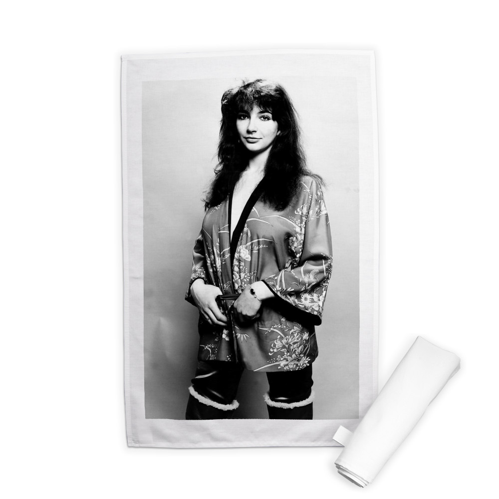 Pop singer Kate Bush poses in the studio wearing a kimono Tea Towel
