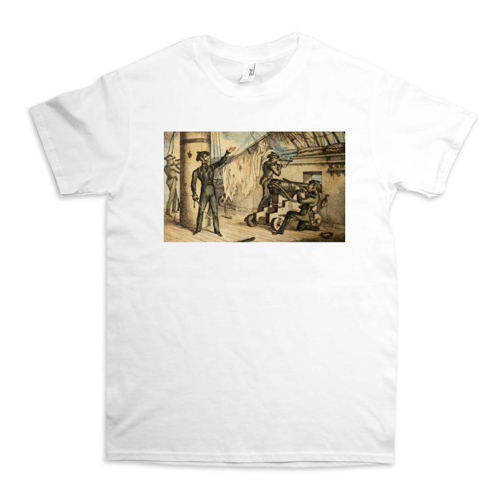etching, Marine riflemen in action on board an unidentified warship, c1835.. TShirt