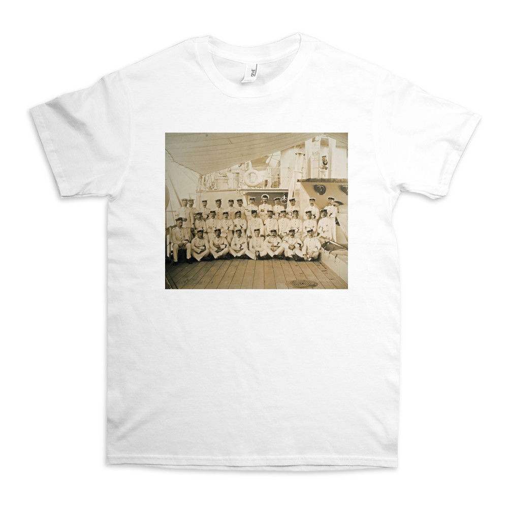 Royal Marine detachment aboard the cruiser HMS Astrea, c1905. Location.. TShirt