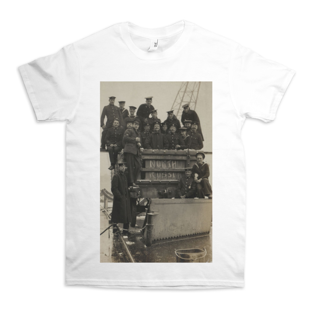 Royal Marines sitting in and on a railway wagon in North Russia, 1919. TShirt