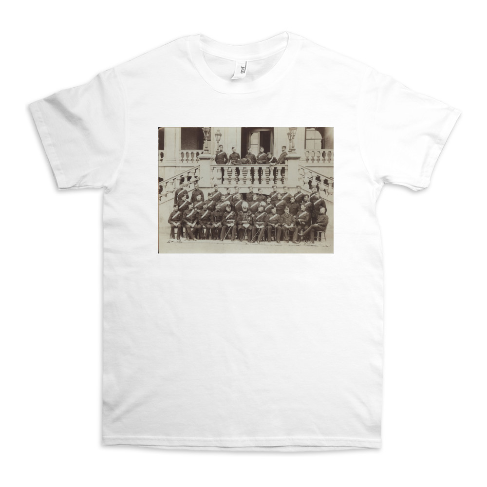Royal Marine Artillery Officers seated in front of the Officers' Mess at.. TShirt